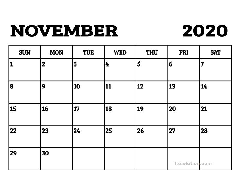 November 2020 PDF Calendar