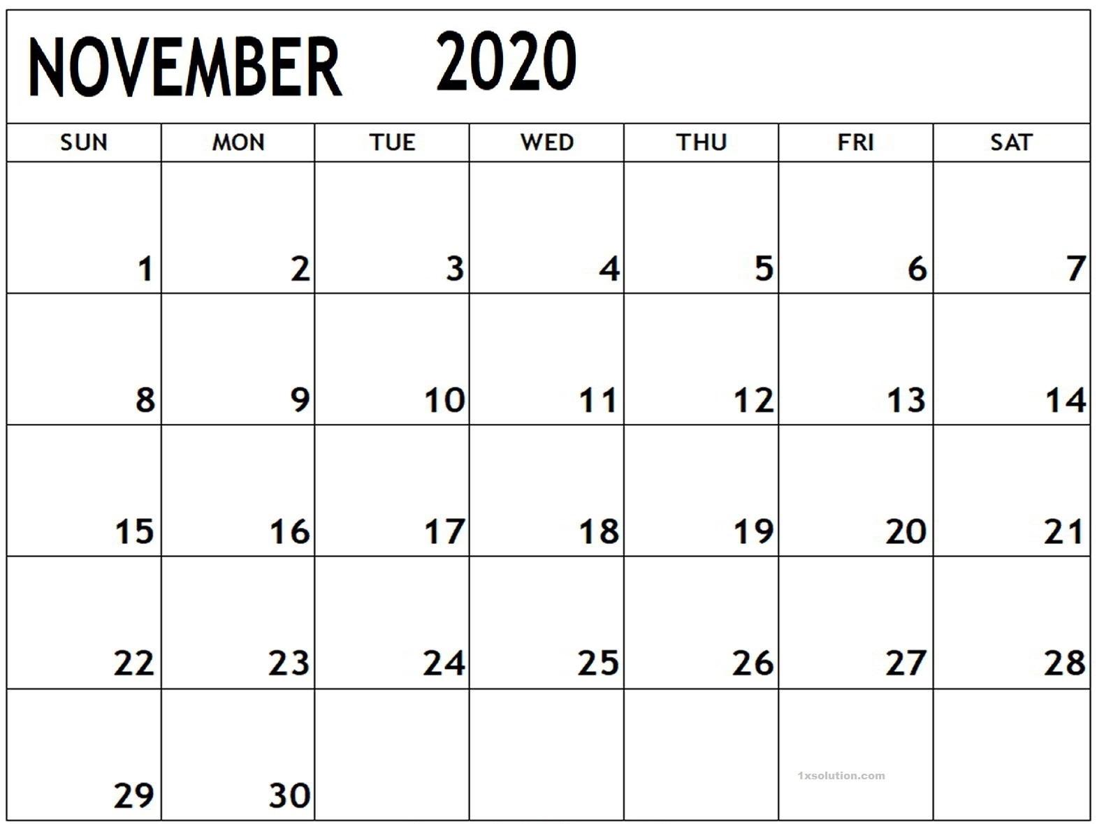 November Calendar 2020 Excel