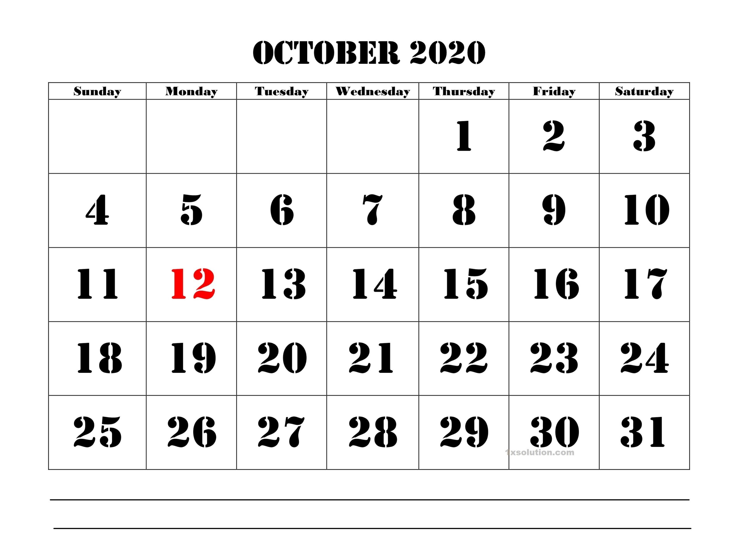 October 2020 Calendar Excel With Holidays