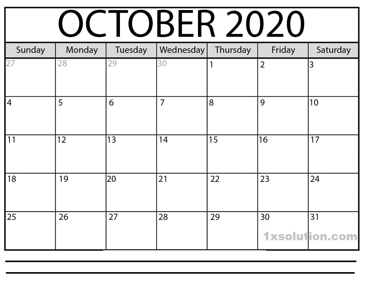 October 2020 Calendar Excel With Notes