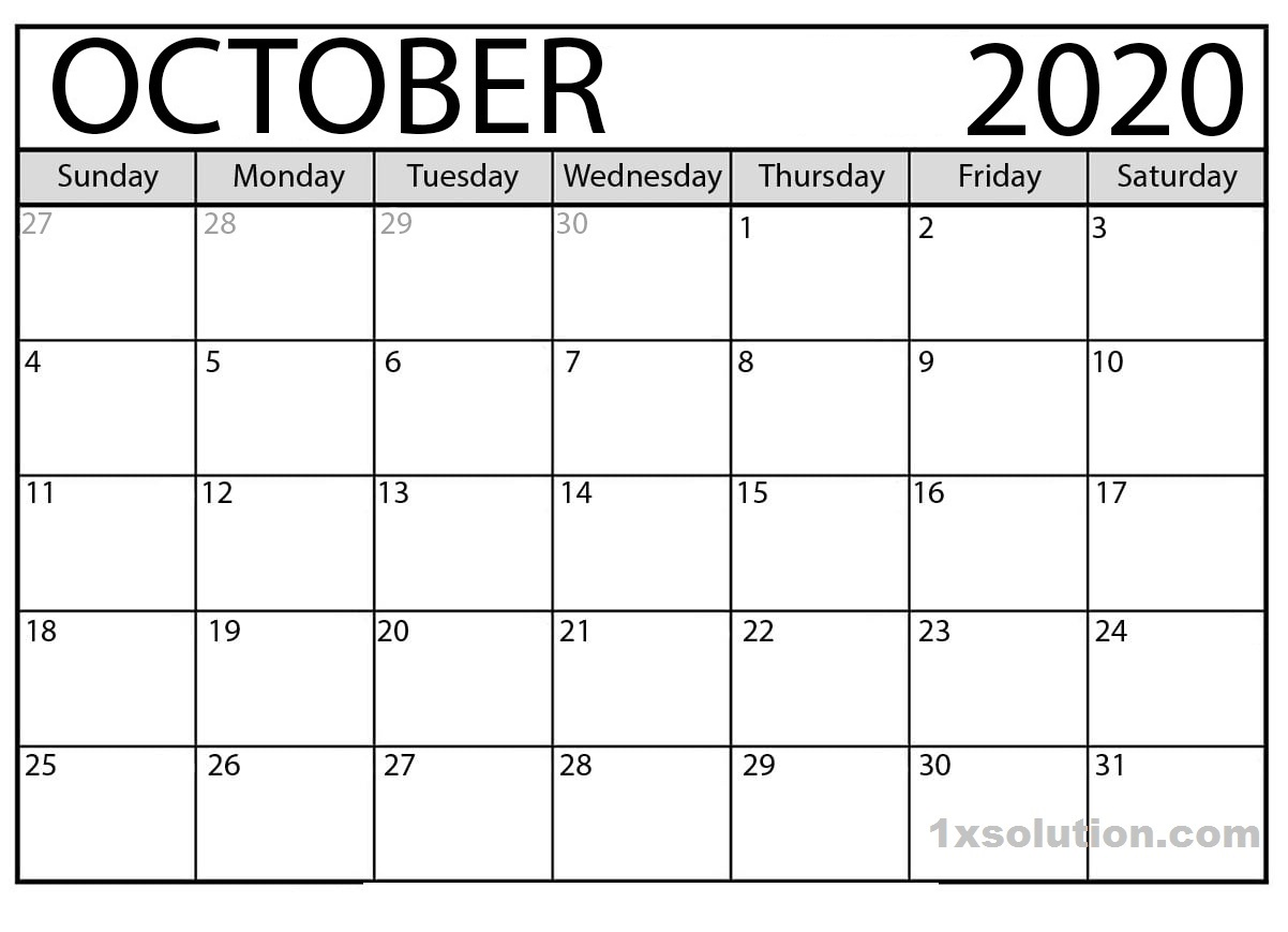 October 2020 Calendar Free