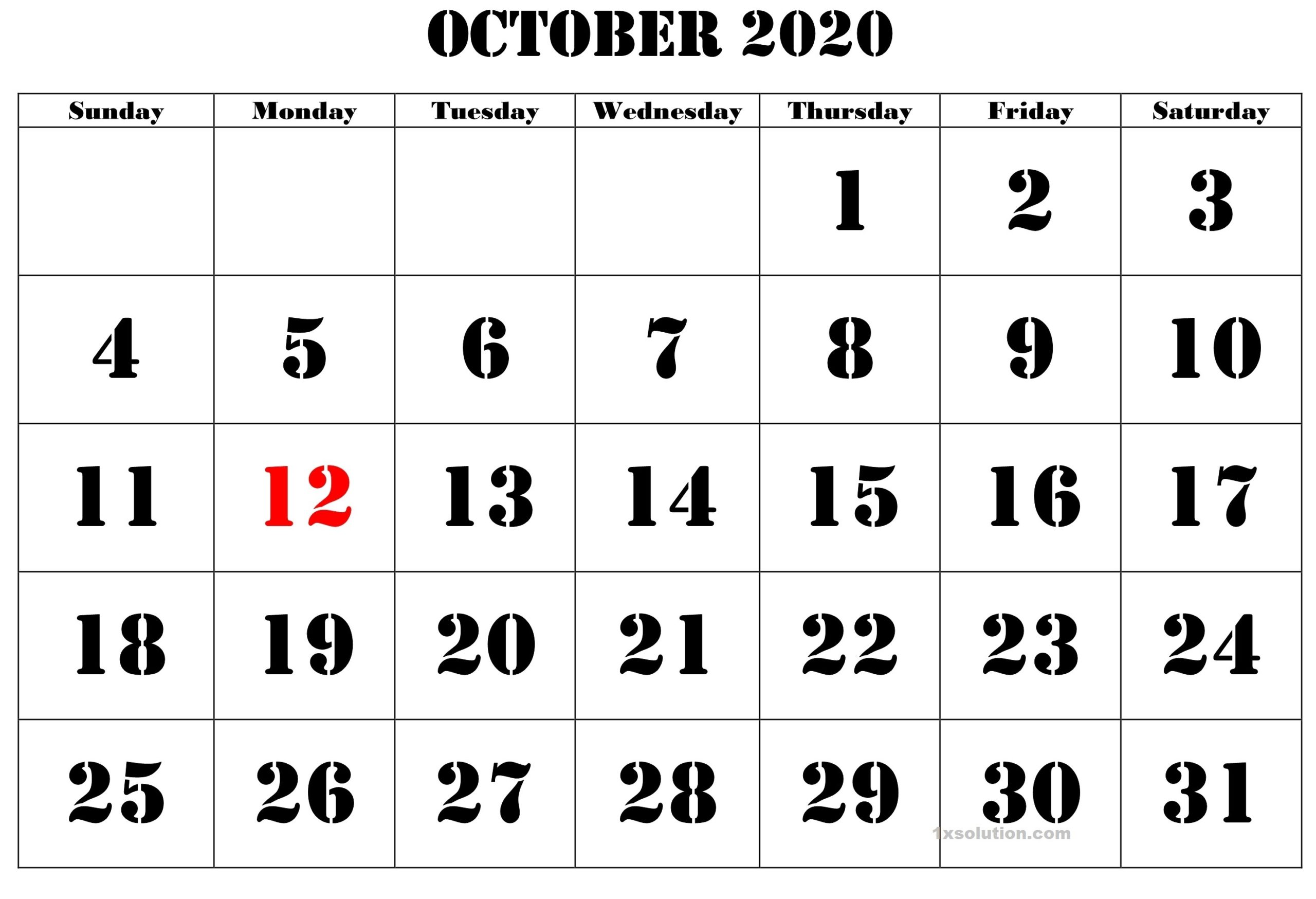 October 2020 Calendar PDF With Holidays