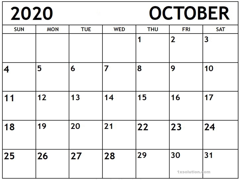 October 2020 Calendar Planner