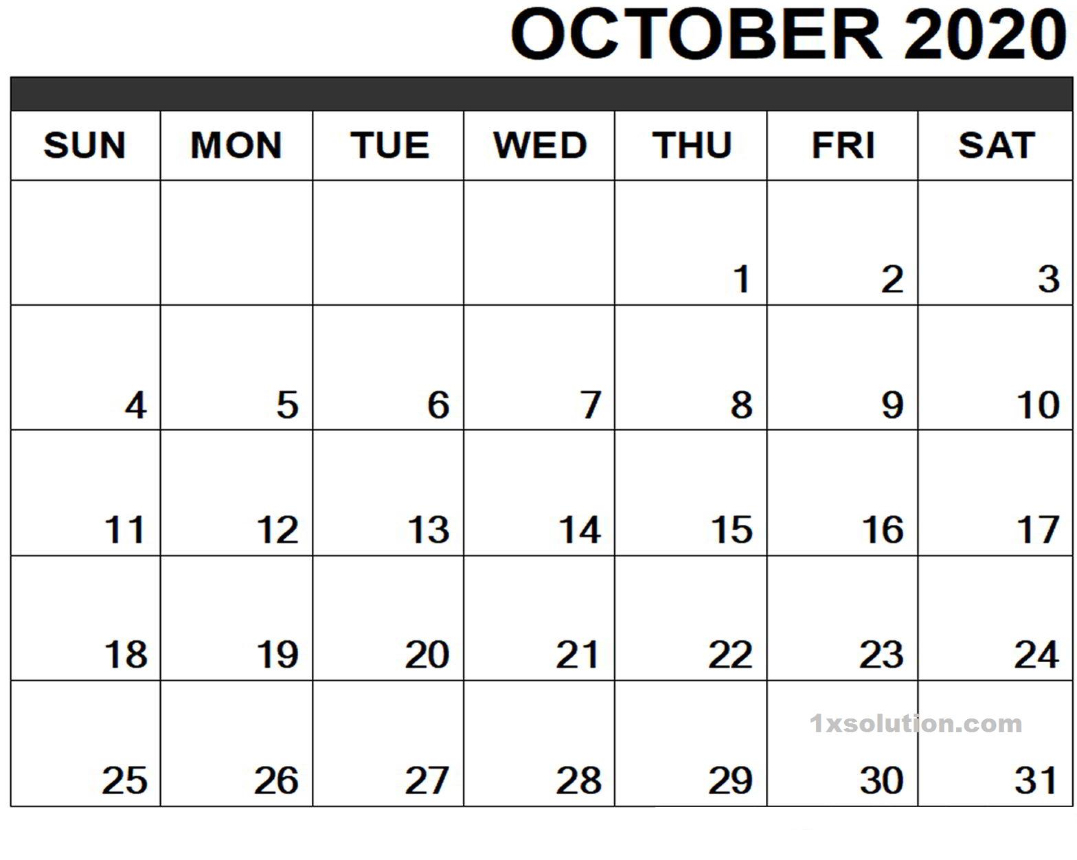 October 2020 Calendar Printable