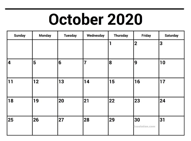 October 2020 Excel Calendar