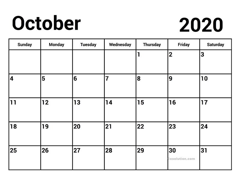 October 2020 PDF Calendar