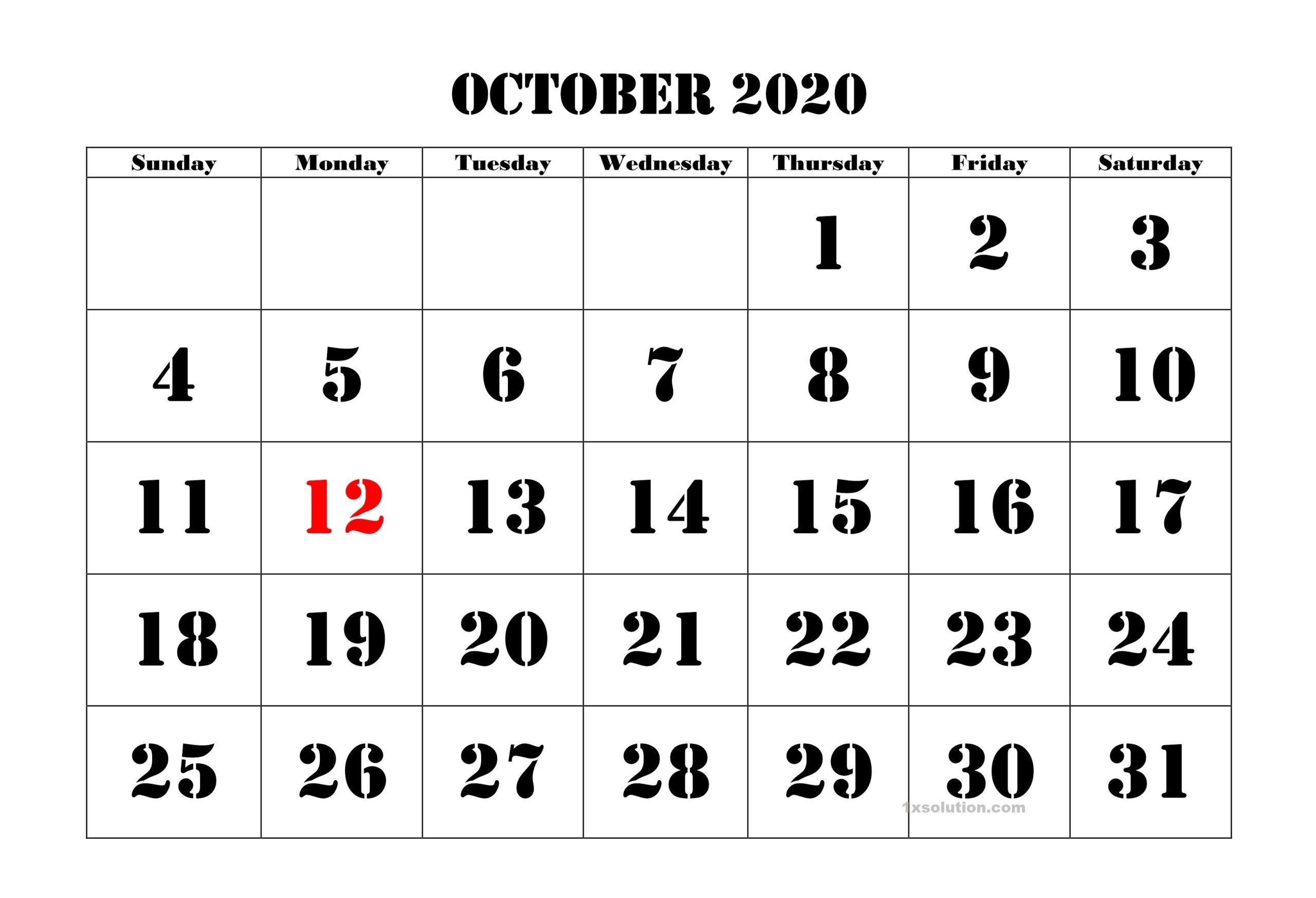 October 2020 Printable Calendar Sheet