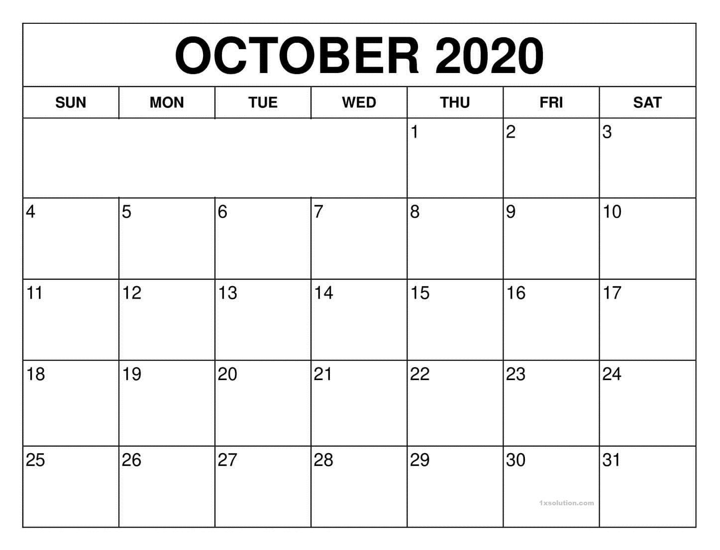 October Calendar 2020 Excel