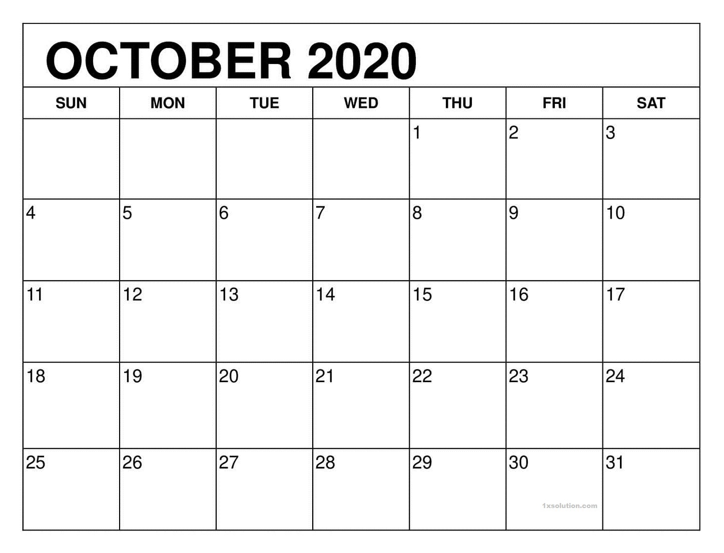 October Calendar 2020 PDF