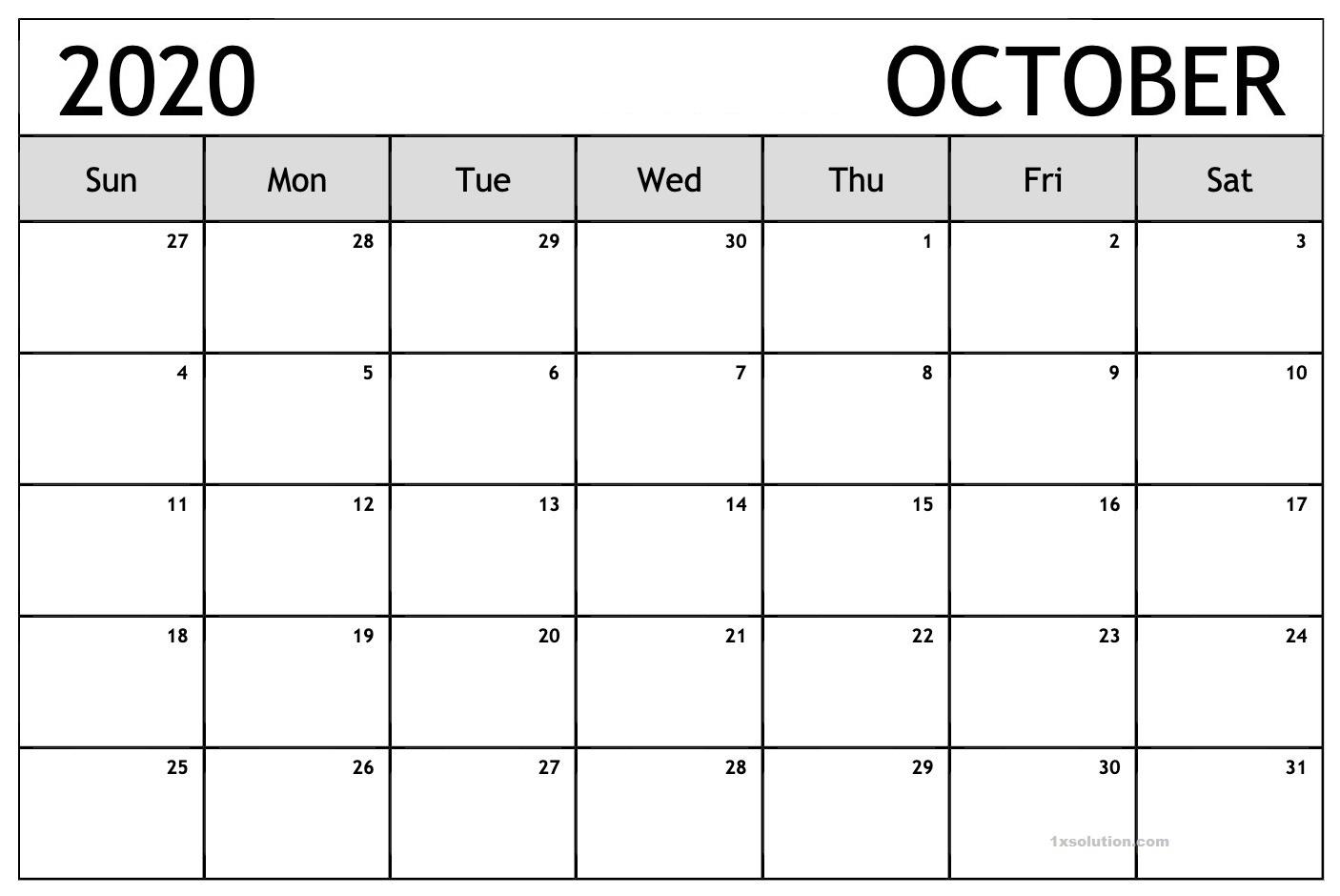 October Calendar 2020 Page