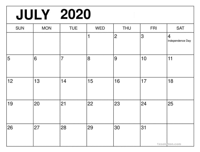 PDF Calendar July 2020