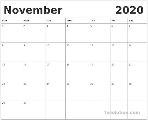 PDF Calendar November 2020