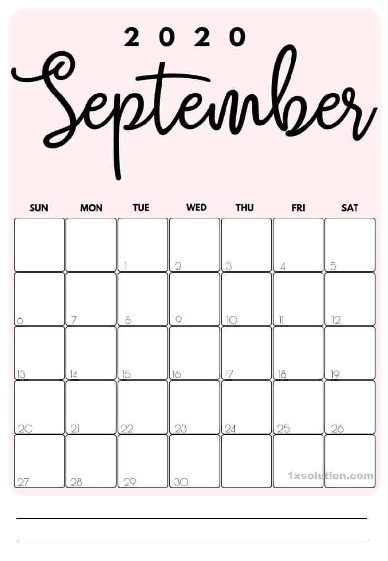 PDF Calendar September 2020