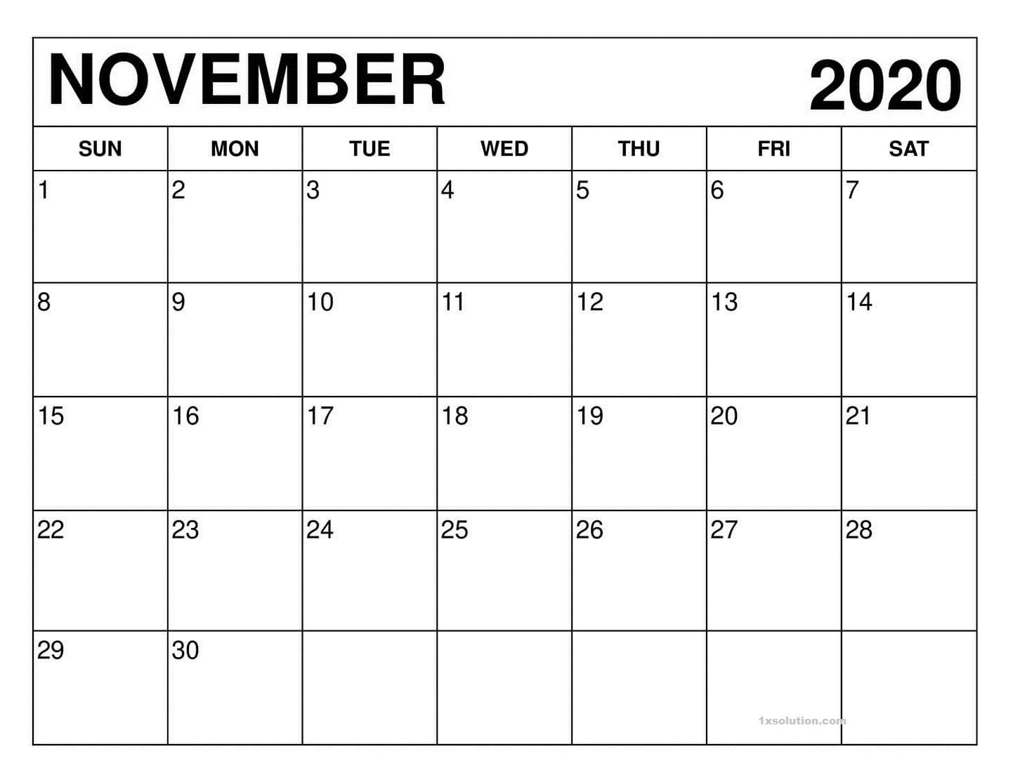 PDF November 2020 Calendar