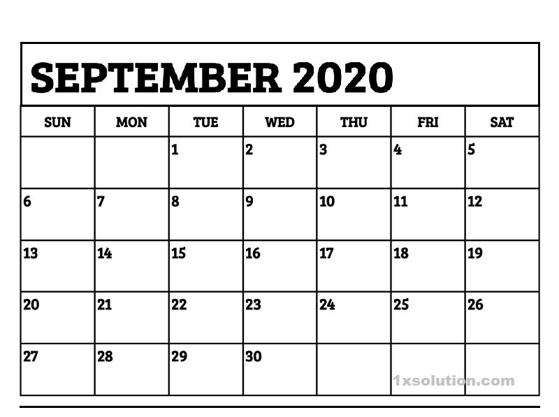 PDF September 2020 Calendar