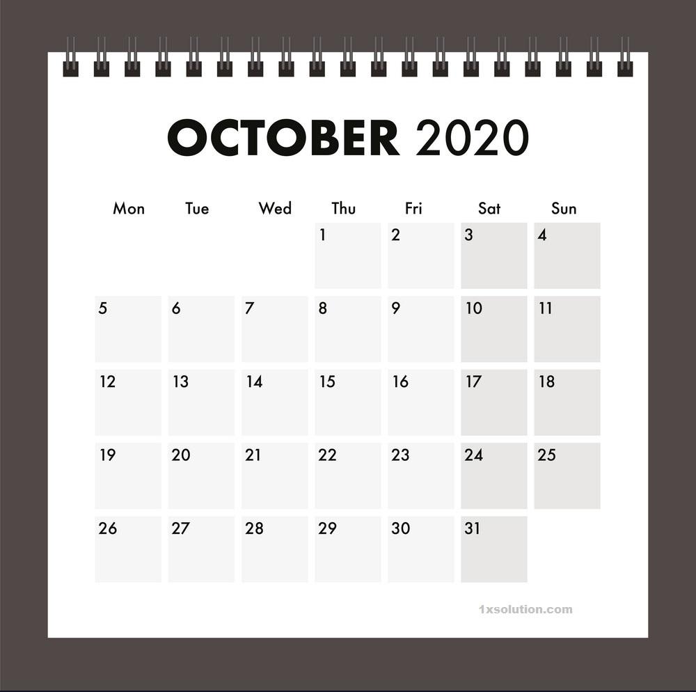 Printable 2020 October Calendar
