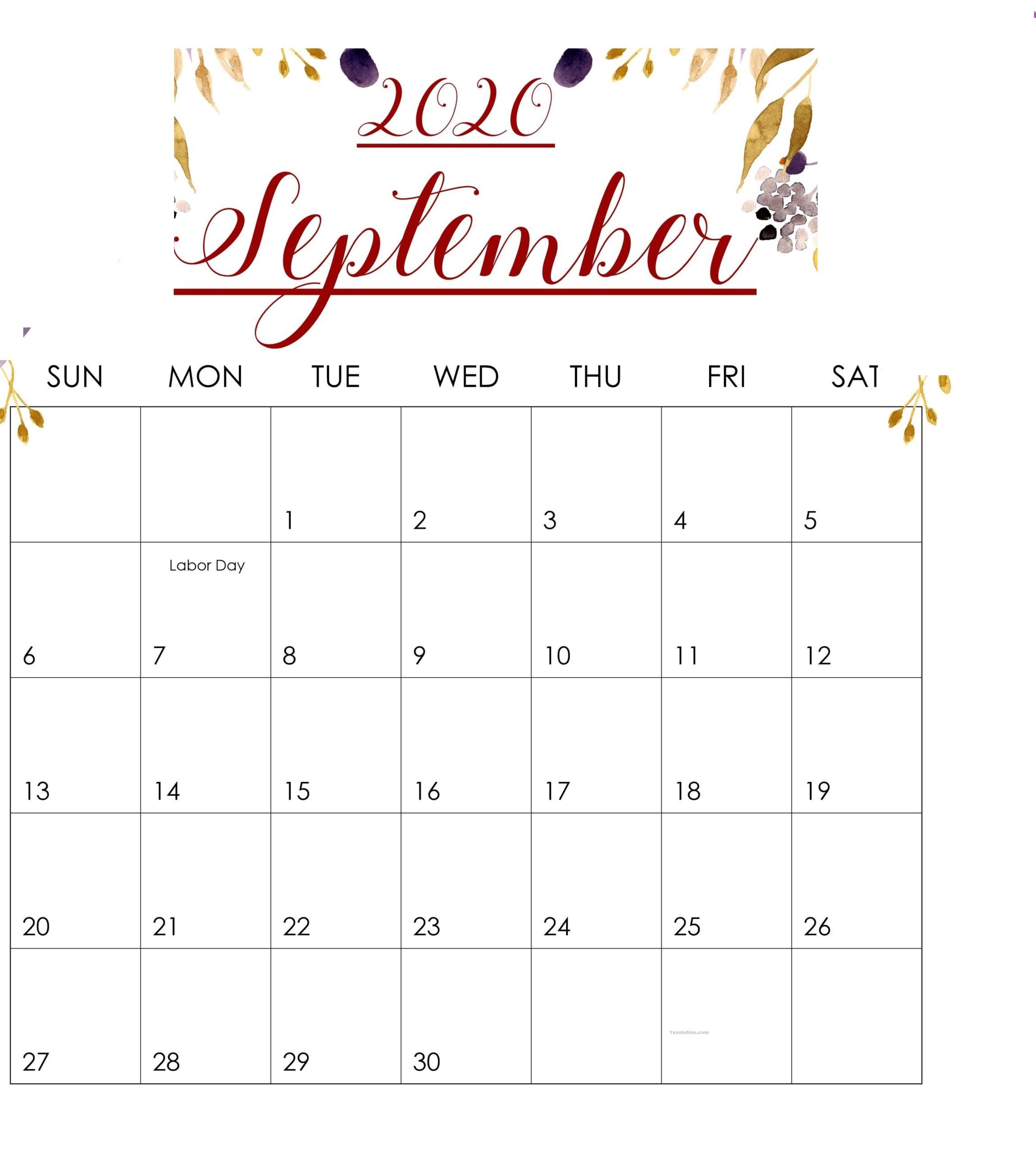 September 2020 Calendar Excel Sheet