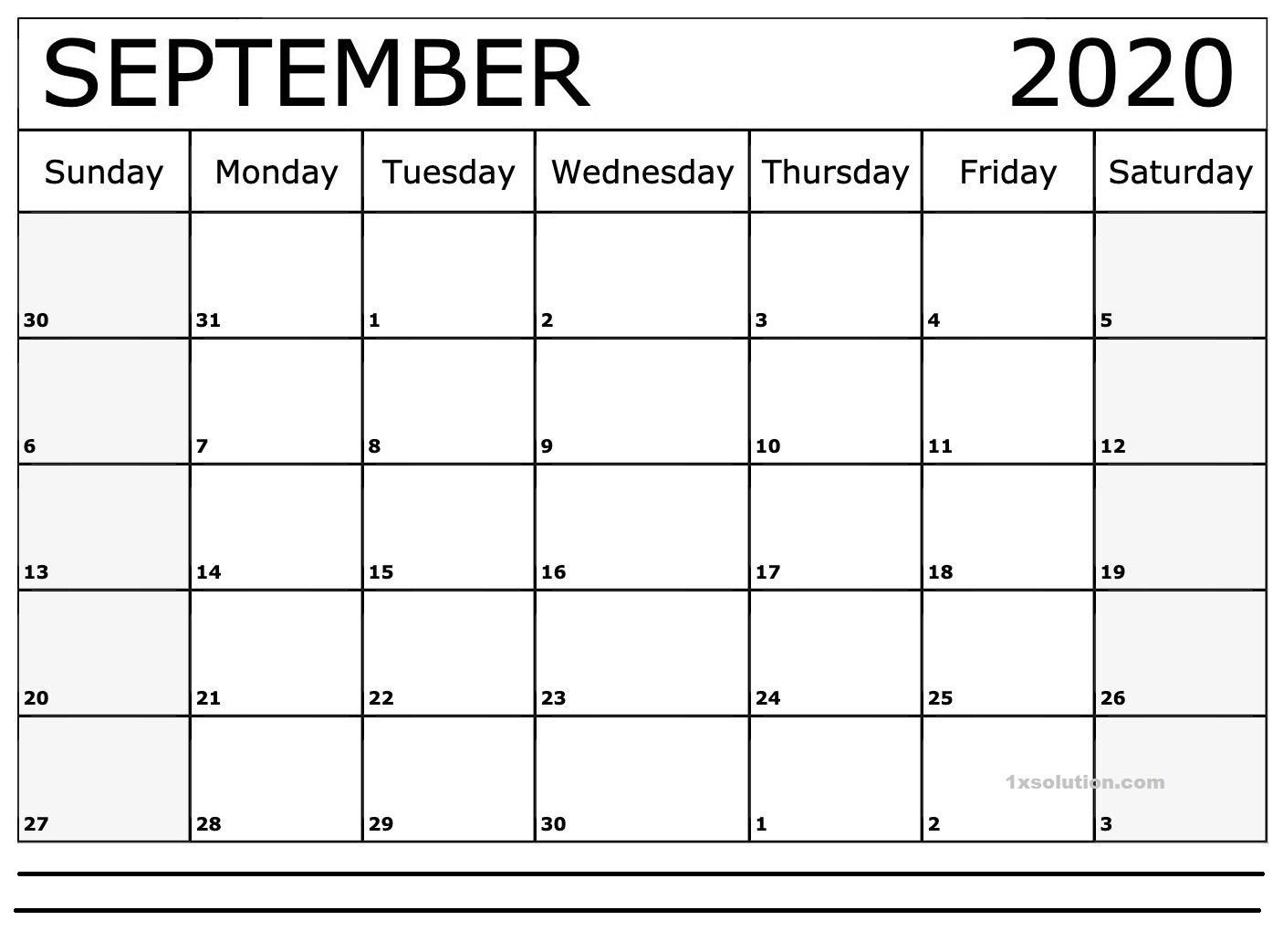 September 2020 Calendar PDF