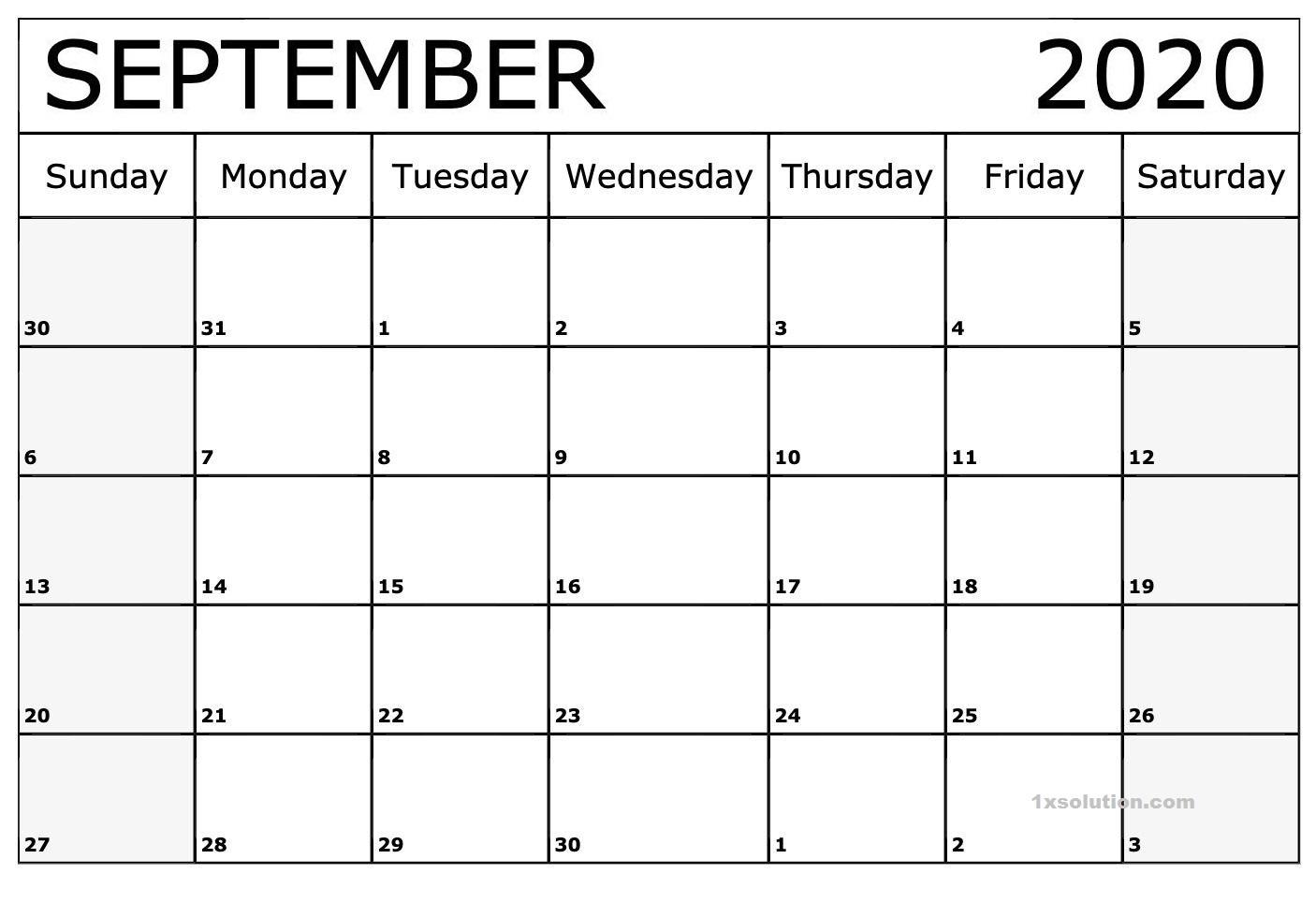 September 2020 Excel Calendar