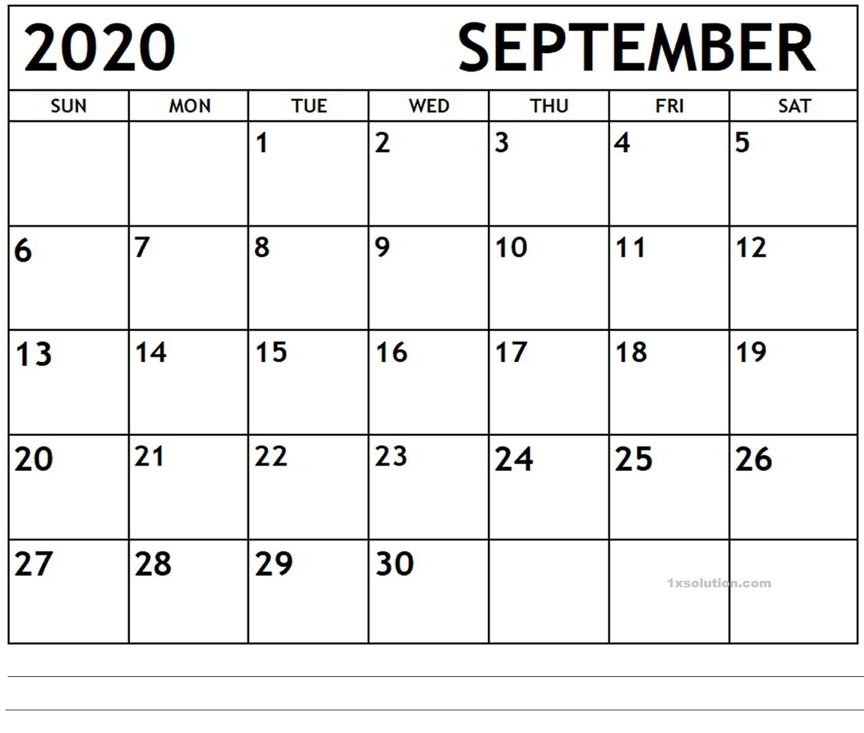 September 2020 PDF Calendar