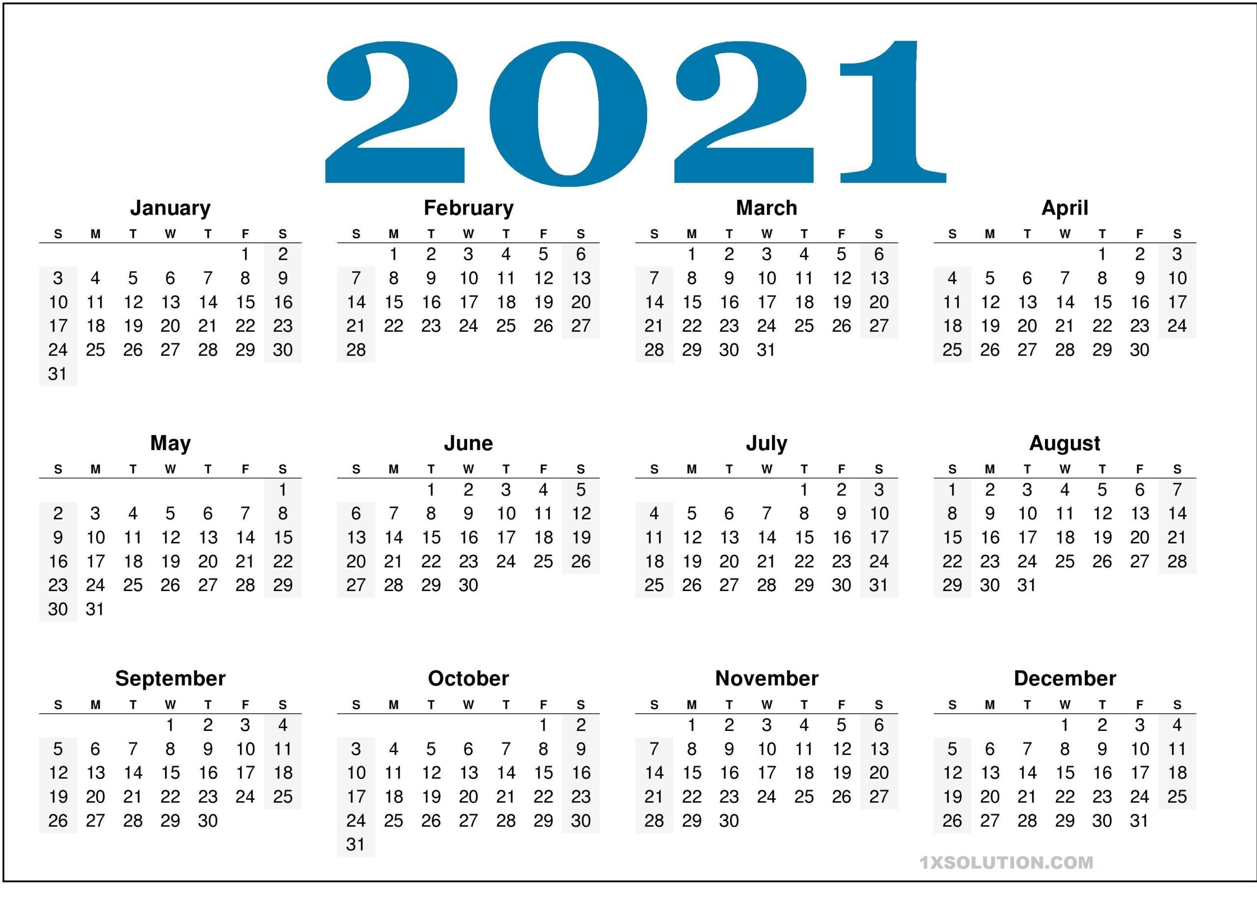 2021 Daily Calendar Excel sheet