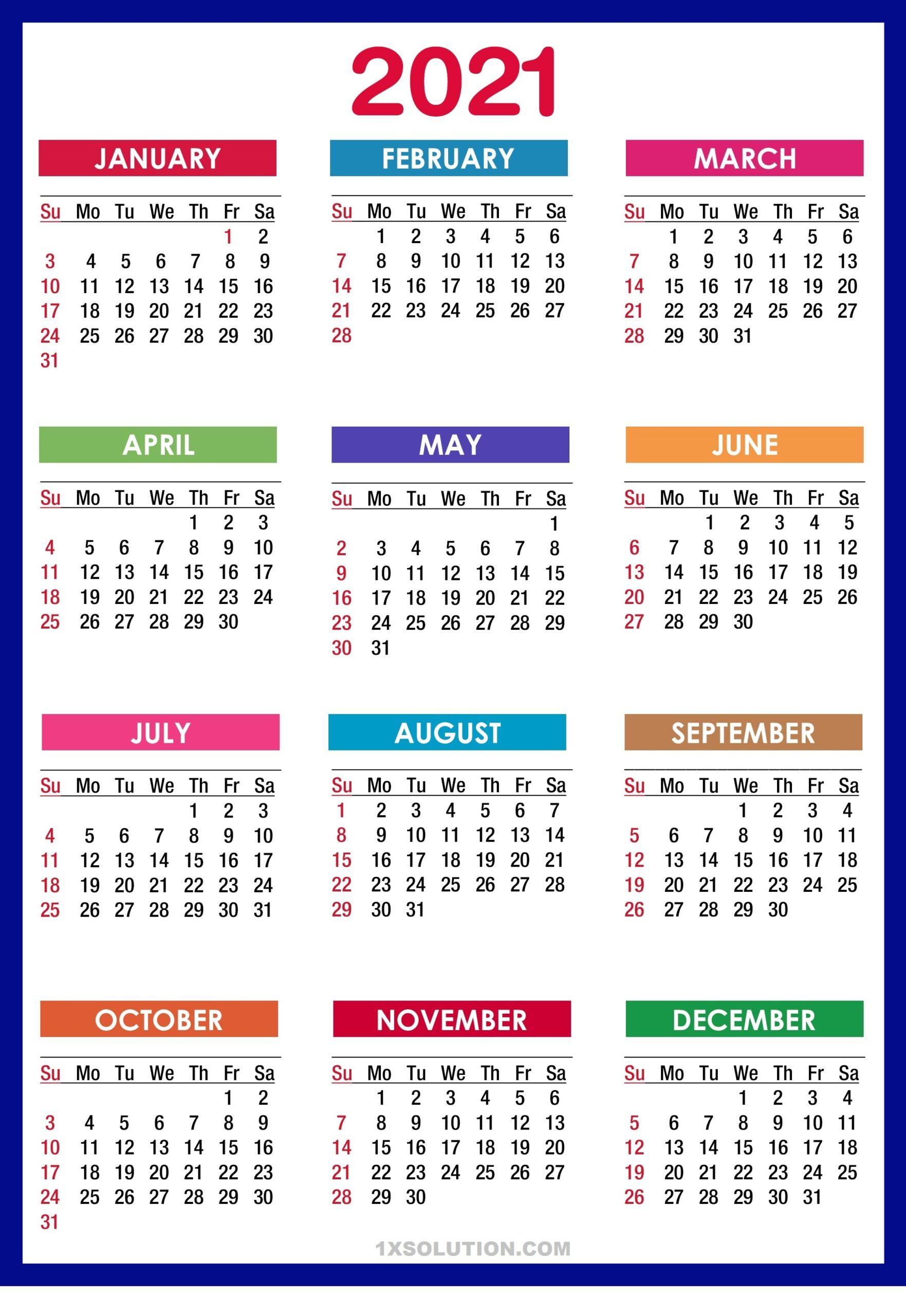 2021 Daily Calendar Holidays Schedule