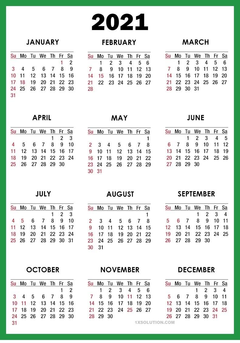 2021 Daily Calendar PDF