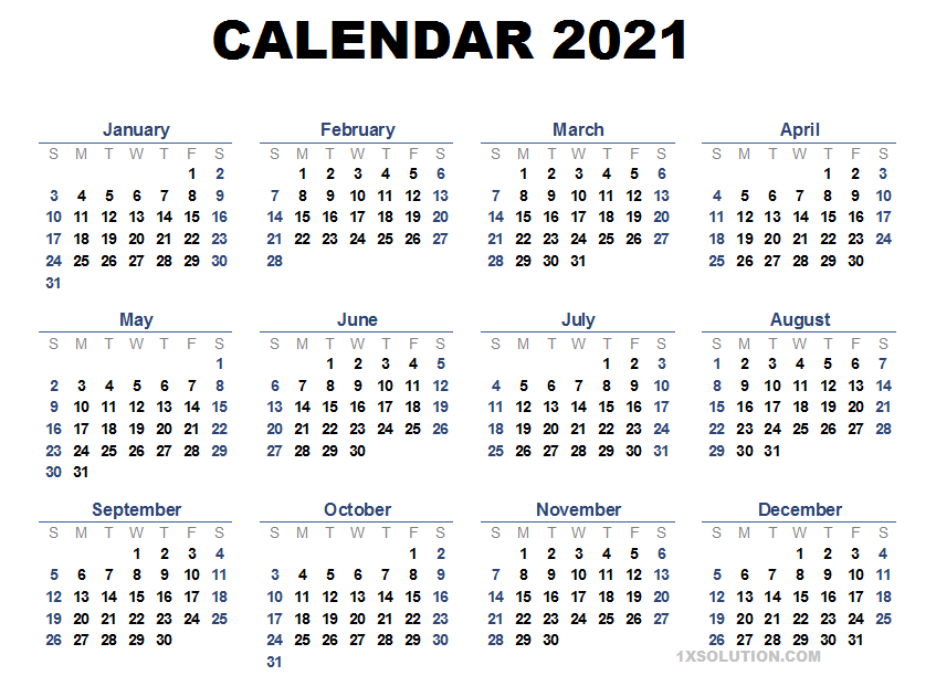 2021 Daily Calendar Printable