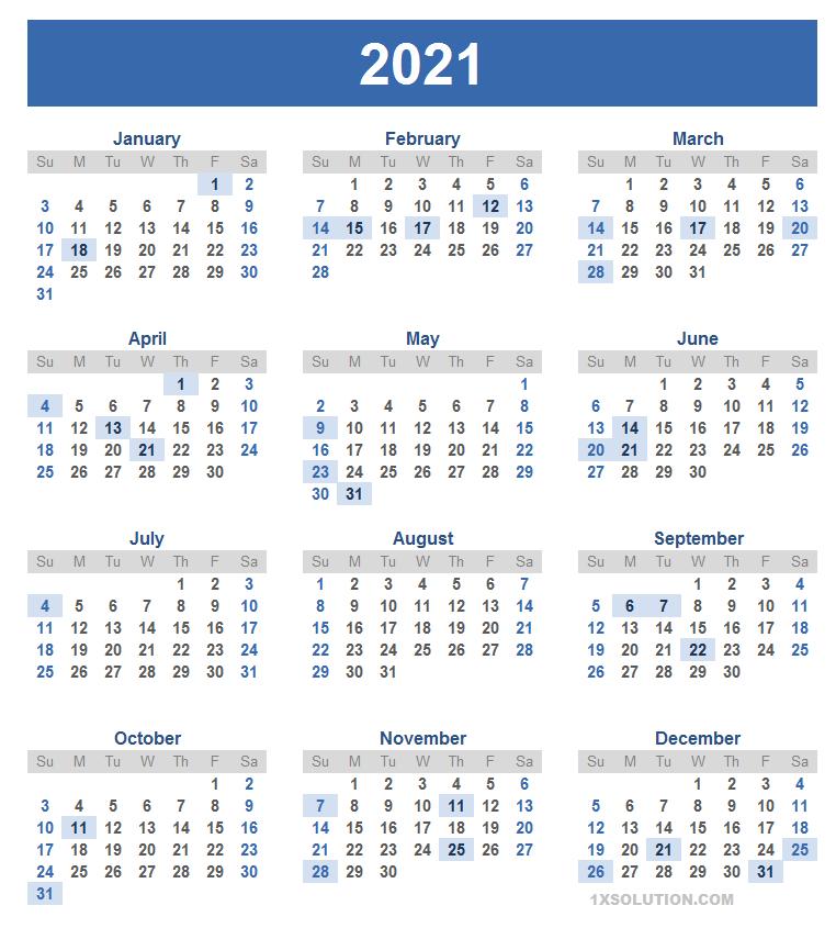 2021 Daily Calendar
