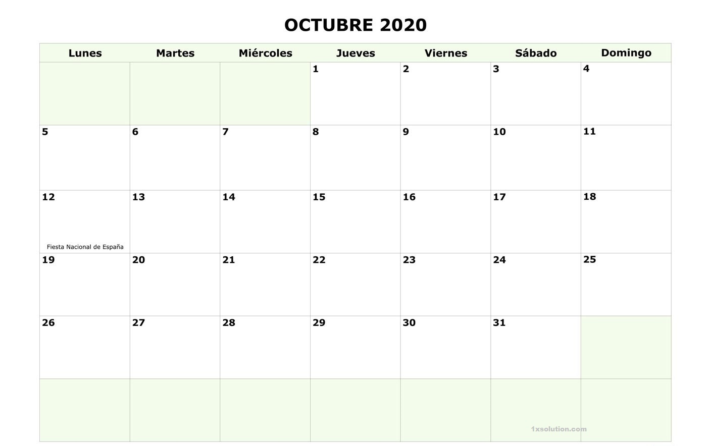 Calendario 2020 Octubre PDF