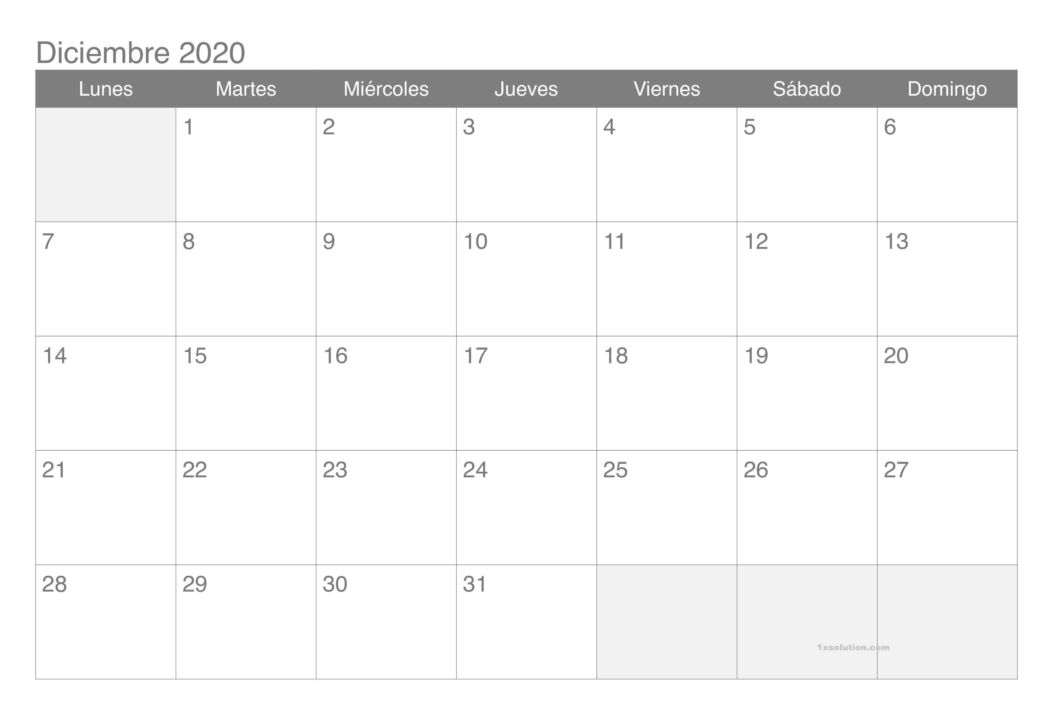 Calendario Diciembre 2020 Con Festivos
