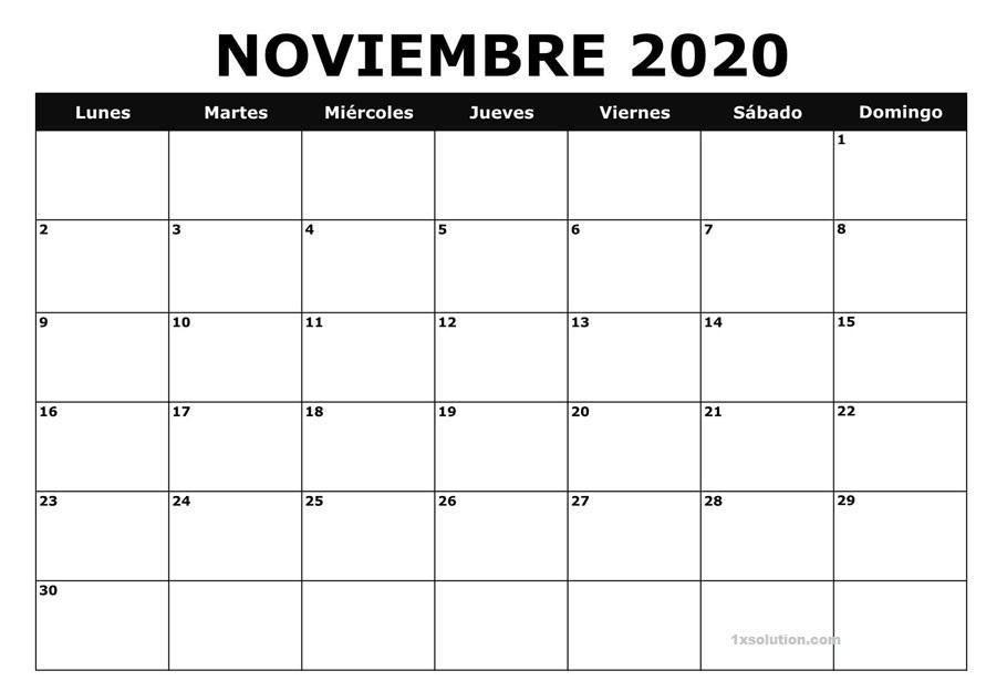 Calendario Noviembre 2020 Argentina