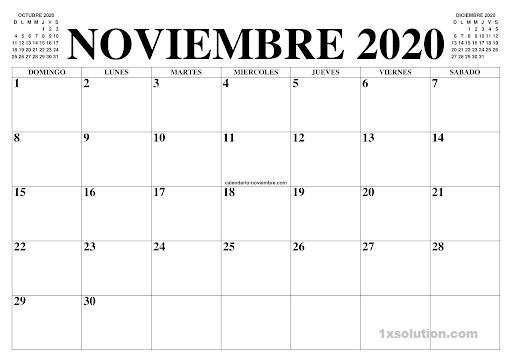 Calendario Noviembre 2020 Chile PDF