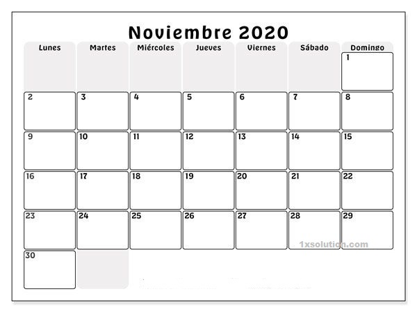 Calendario Noviembre 2020 Chile