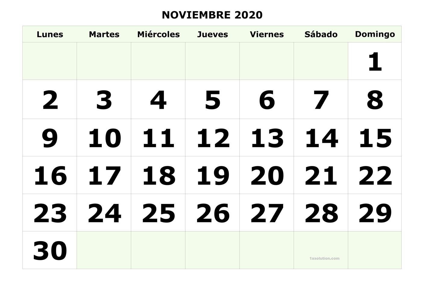 Calendario Noviembre 2020 Con Festivos