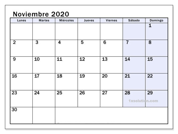 Calendario Noviembre 2020 En blanco