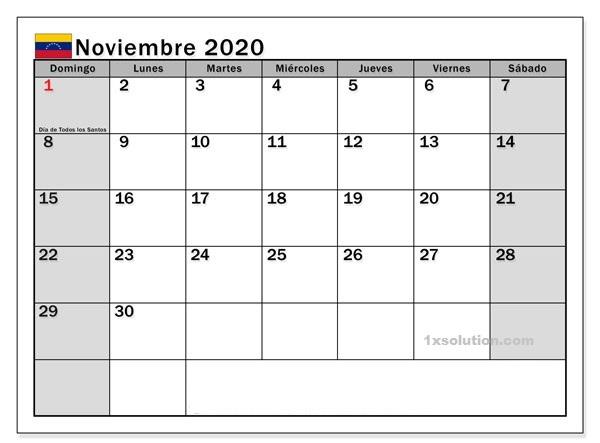 Calendario Noviembre 2020 Para Imprimir Examen