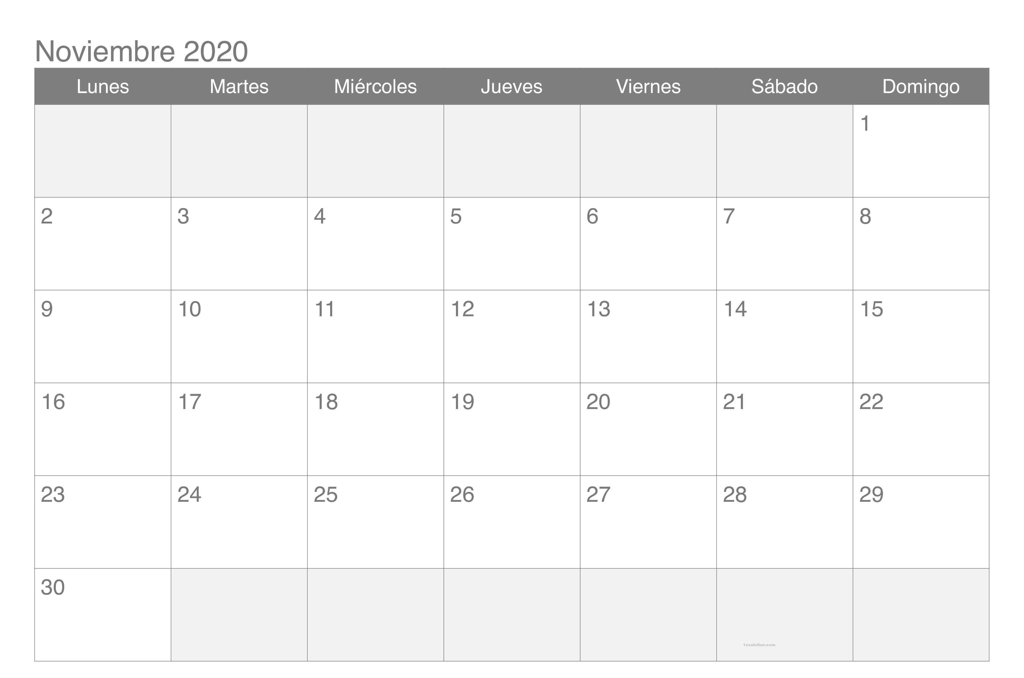 Calendario Noviembre 2020 Para Imprimir Excel