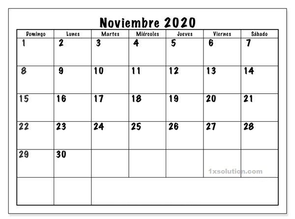 Calendario Noviembre 2020 Para Imprimir PDF