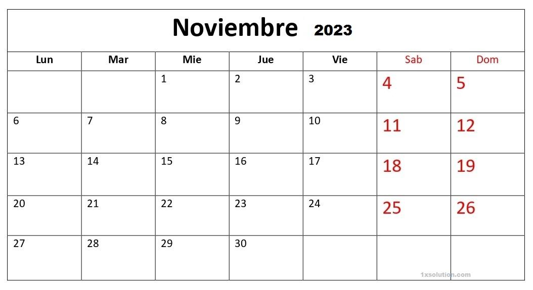 Calendario Noviembre 2023 Chile Festivales