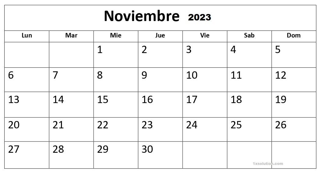 Calendario Noviembre 2023 Con Festivos