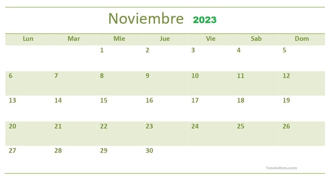 Calendario Noviembre 2023 Impresión
