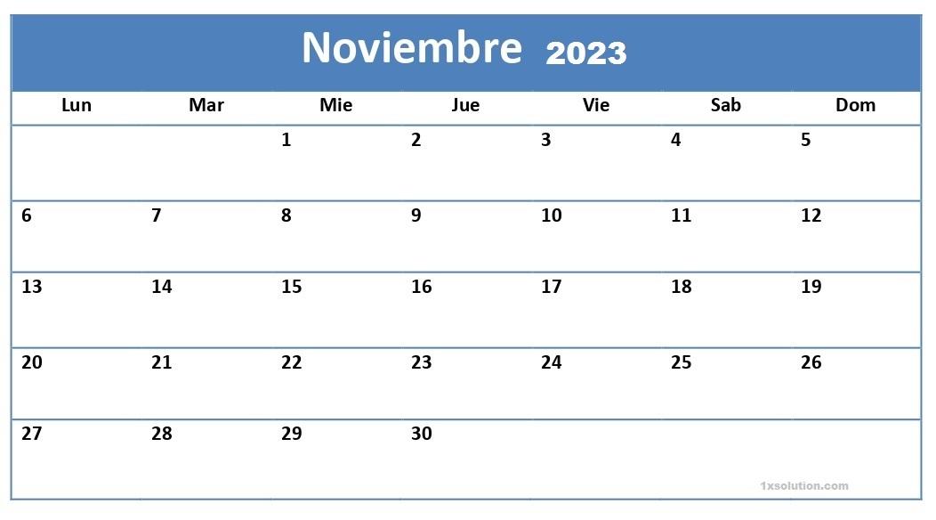 Calendario Noviembre 2023 Para Imprimir
