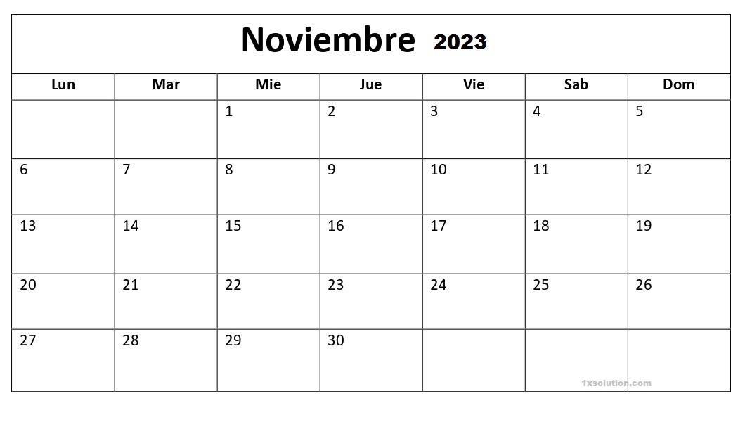 Calendario Noviembre 2023