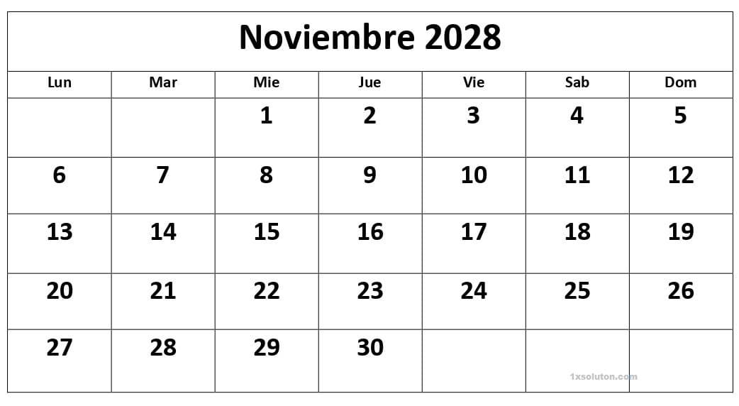 Calendario Noviembre 2028 Argentina