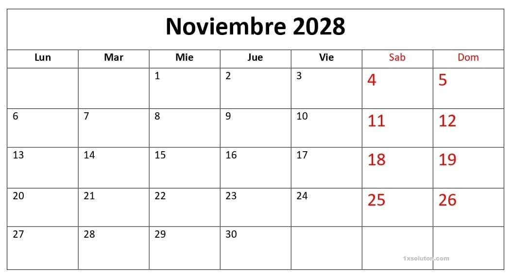Calendario Noviembre 2028 Chile Paisaje