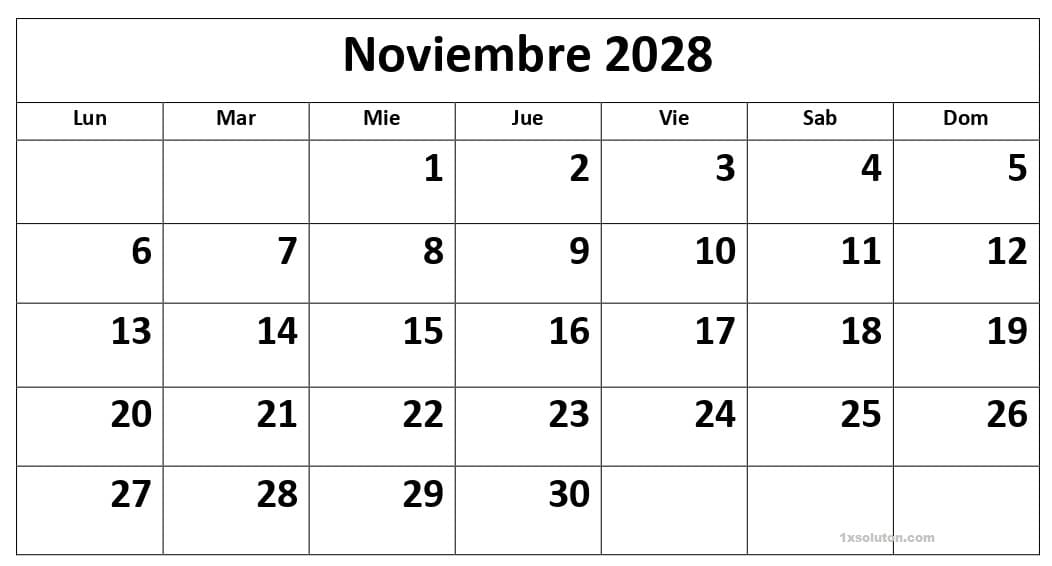 Calendario Noviembre 2028 Chile