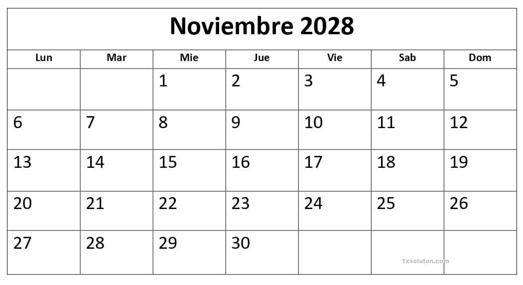 Calendario Noviembre 2028 Con Festivos