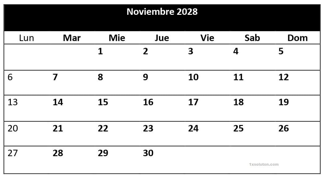 Calendario Noviembre 2028 Para Imprimir