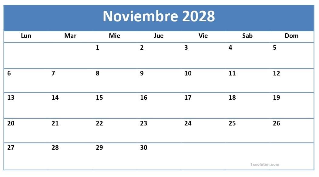 Calendario Noviembre 2028 Plantilla